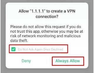 Notifikasi Meminta Ijin Pembuatan Profile VPN
