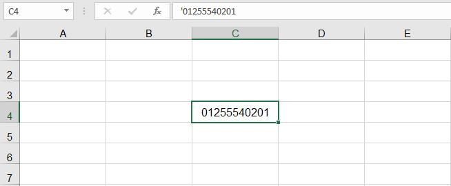 اظهار الصفر على الشمال في Excel