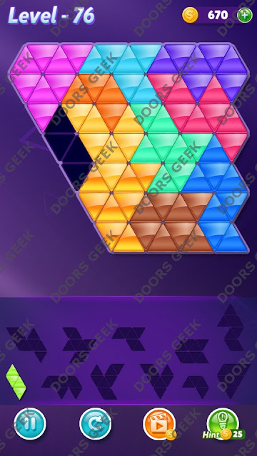 Block! Triangle Puzzle Challenger Level 76 Solution, Cheats, Walkthrough for Android, iPhone, iPad and iPod