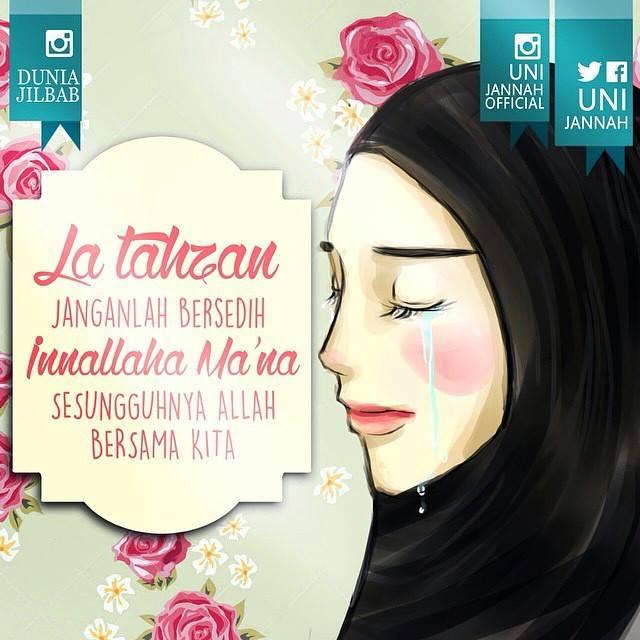 Gambar Kartun Muslimah Berhijab Sedang Bersedih Hati Dalam Dilema