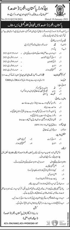 Latest Pakistan Rangers (Sindh) Jobs Opportunities 2021