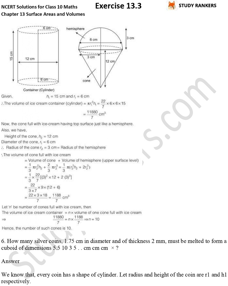 NCERT Solutions for Class 10 Maths Chapter 13 Surface Areas and Volumes Exercise 13.3 Part 4