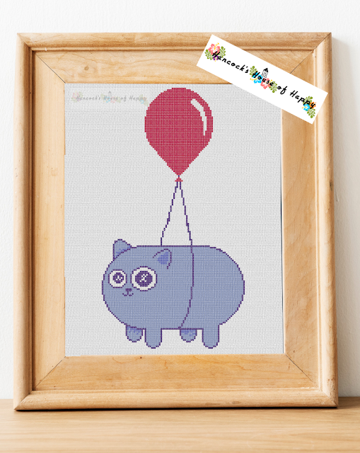 kawaii cat tied to a floating balloon cross stitch pattern chart free download gato punto cruz pixel art perler