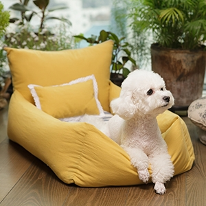 Louis Dog Happy Sunday Bed Linen in Mustard
