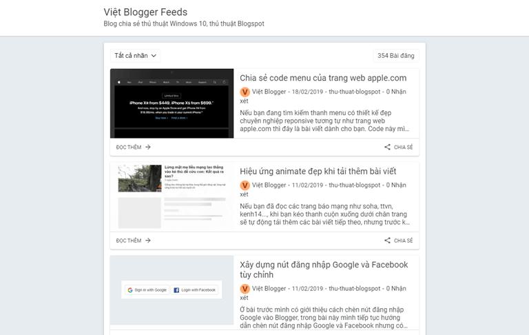 Việt Blogger Feeds Blogger Template