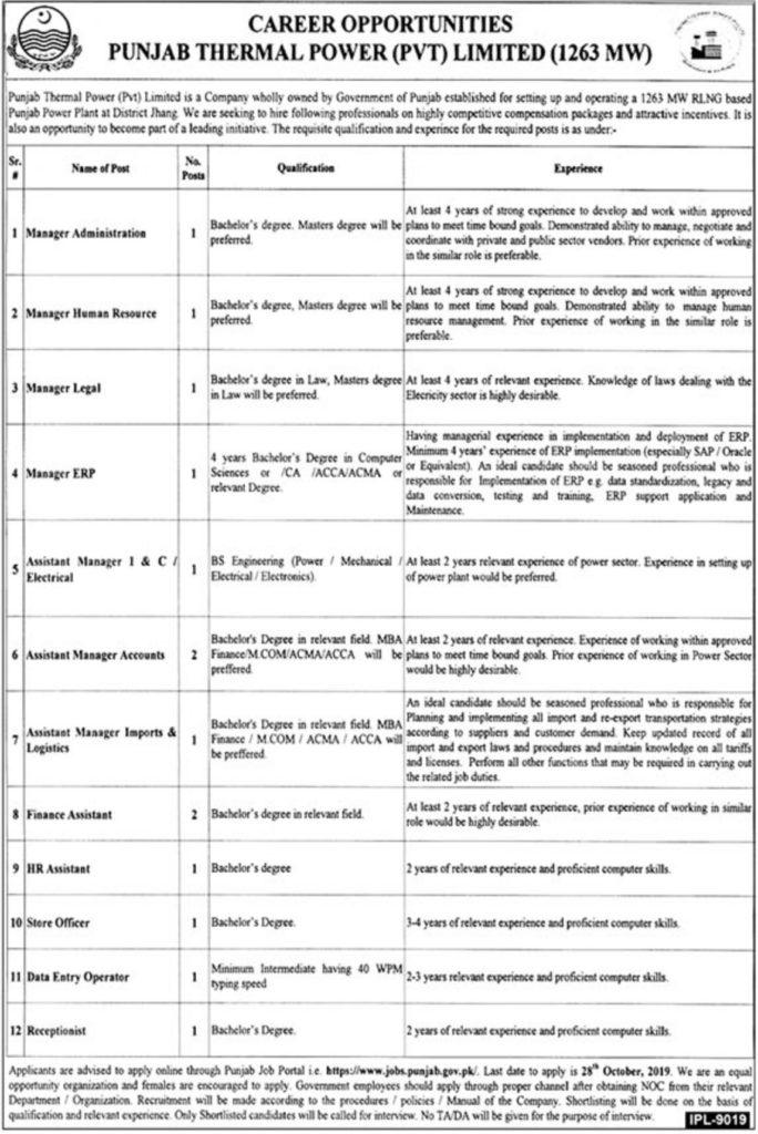Punjab Thermal Power Jobs 2019