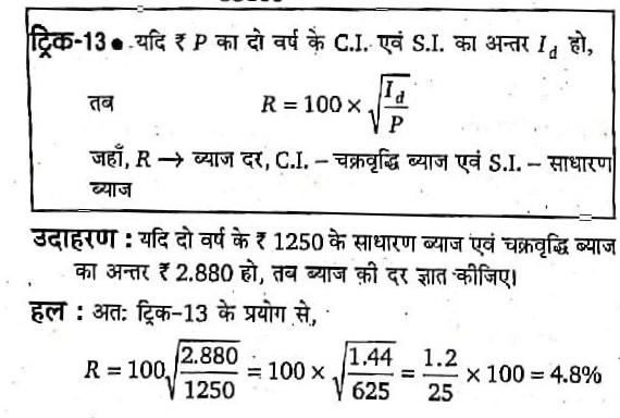 यदि दो वर्ष के ₹1250 के साधारण व्याज एवं चक्रवृद्धि व्याज का अंतर ₹2.880 हो , तब व्याज की दर बताये ।