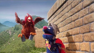 Super Grover helps a Chicken. Super Grover 2.0 Why Did the Chicken Cross the Wall, The Pretty Good Wall of China. Sesame Street Episode 4320 Fairy Tale Science Fair season 43
