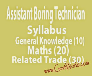 Laghu Sinchai Vibhag Syllabus for Assistant Boring Technician