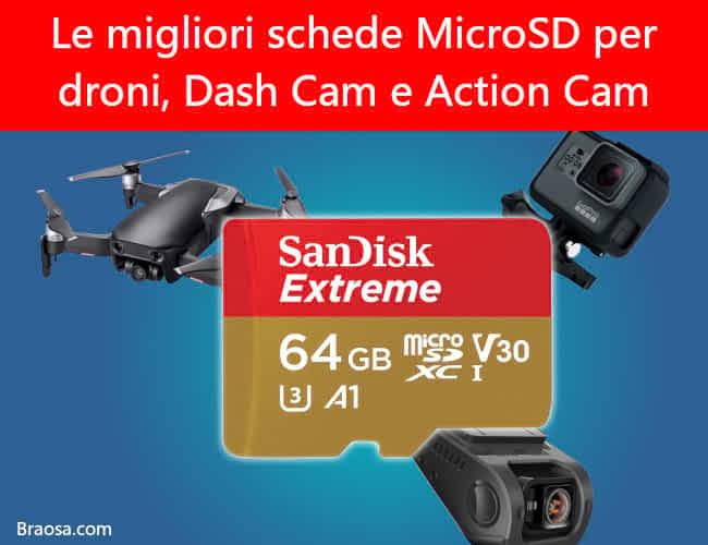 Le migliori schede MicroSD per droni, Dash Cam e Action Cam