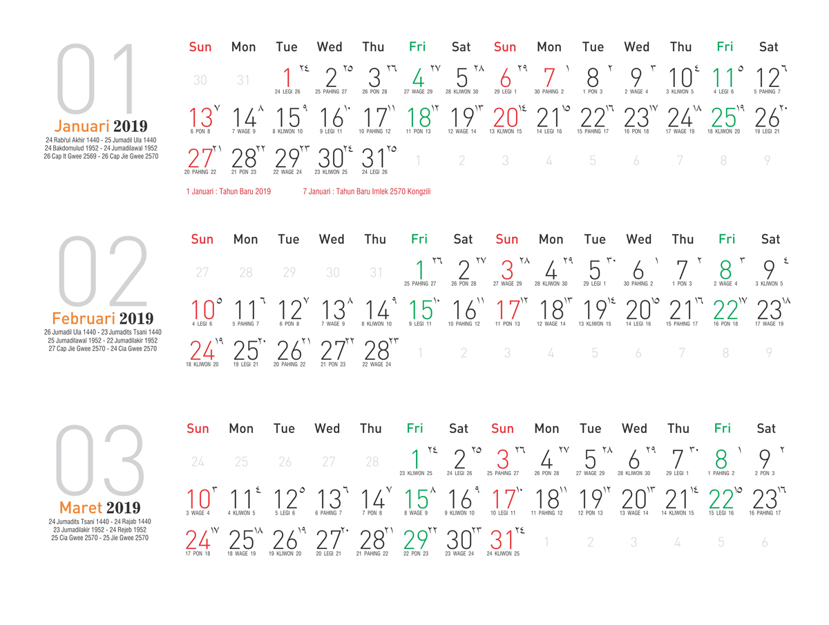 Kalender 2019 Indonesia Corel Home Sweet Home