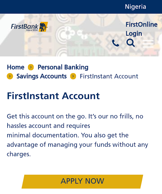 First Bank Account Opening Form, Website & Code: How To Open FBN Savings & Current Account Online (Complete Guide)