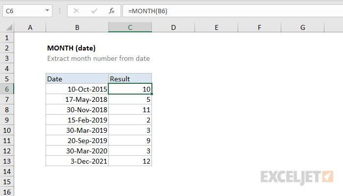 صيغ وشرح استخدام الدالة MONTH في برنامج Microsoft Excel