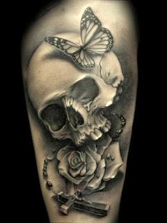 tato tengkorak hitam putih