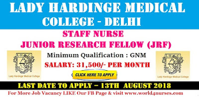 Staff Nurse Vacancy in Lady Hardinge Medical College Delhi August 2018