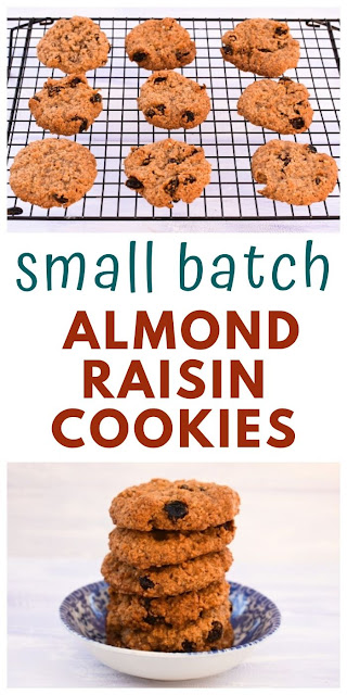 These simple small batch almond and raisin cookies are made with homemade oat flour instead of plain (all purpose flour) made by whizzing up oats in a food processor or blender. You can use plain flour if you don't have oats. #almondraisincookies #smallbatchcookies #almondbutterrecipes #almondbutter #vegancookies #dairyfreecookies #eggfreecookies #chewycookies #howtomakeoatflour #homemadeoatflour