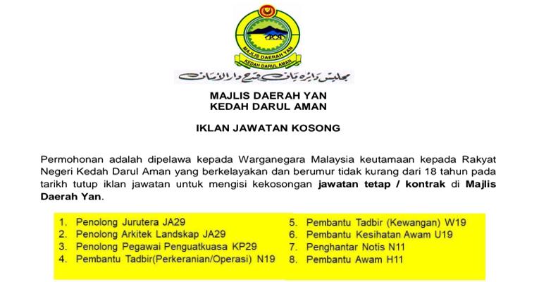 Kekosongan Terkini di Majlis Daerah Yan