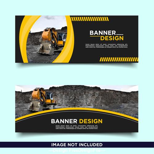 Mine loader banner template design free vector