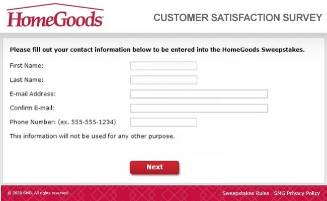 HomeGoods Guest Experience Survey