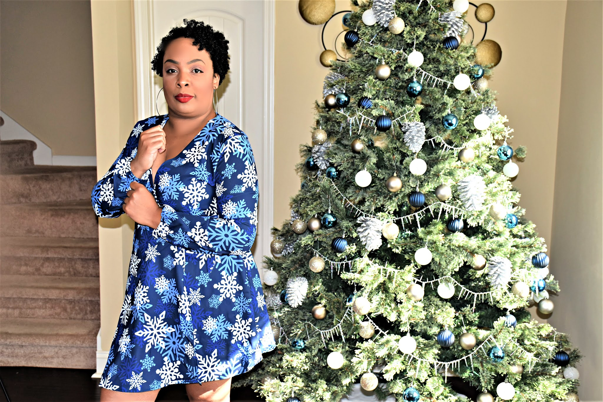 Dark Blue Snowflake Christmas Party Dress