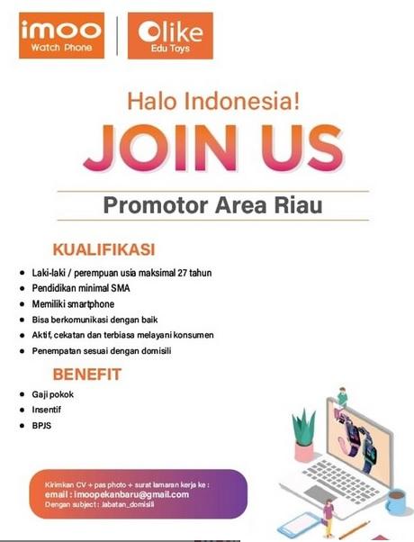 Imoo Pekanbaru Membuka Loker Sebagai Promotor Area Riau