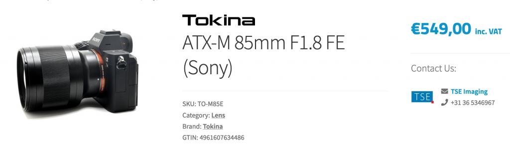 Объектив Tokina ATX-M 85mm f/1.8 FE с камерой Sony на сайте онлайн-магазина