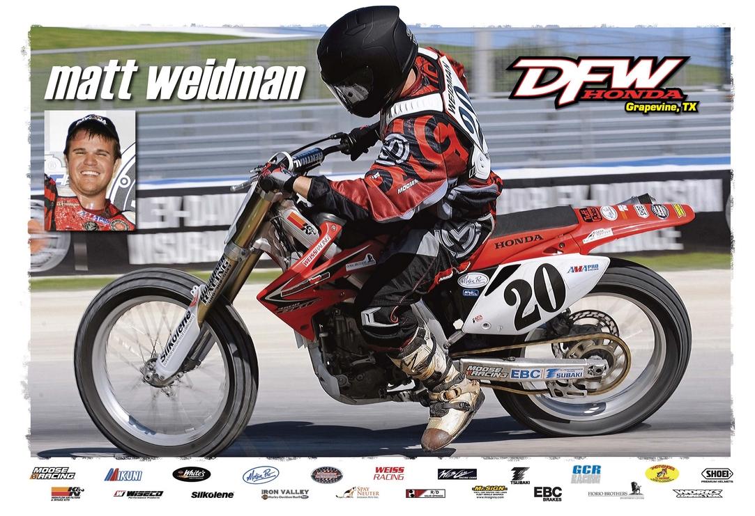 stu's shots r us: ama flat track: matt weidman to ride dfw honda