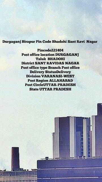 Durgaganj Birapur Pin Code Bhadohi Sant Ravi  Nagar is 221404