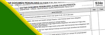 Daftar Dokumen Penunjang Ajuan Calon Peserta Sertifikasi di Simpatika - S34a