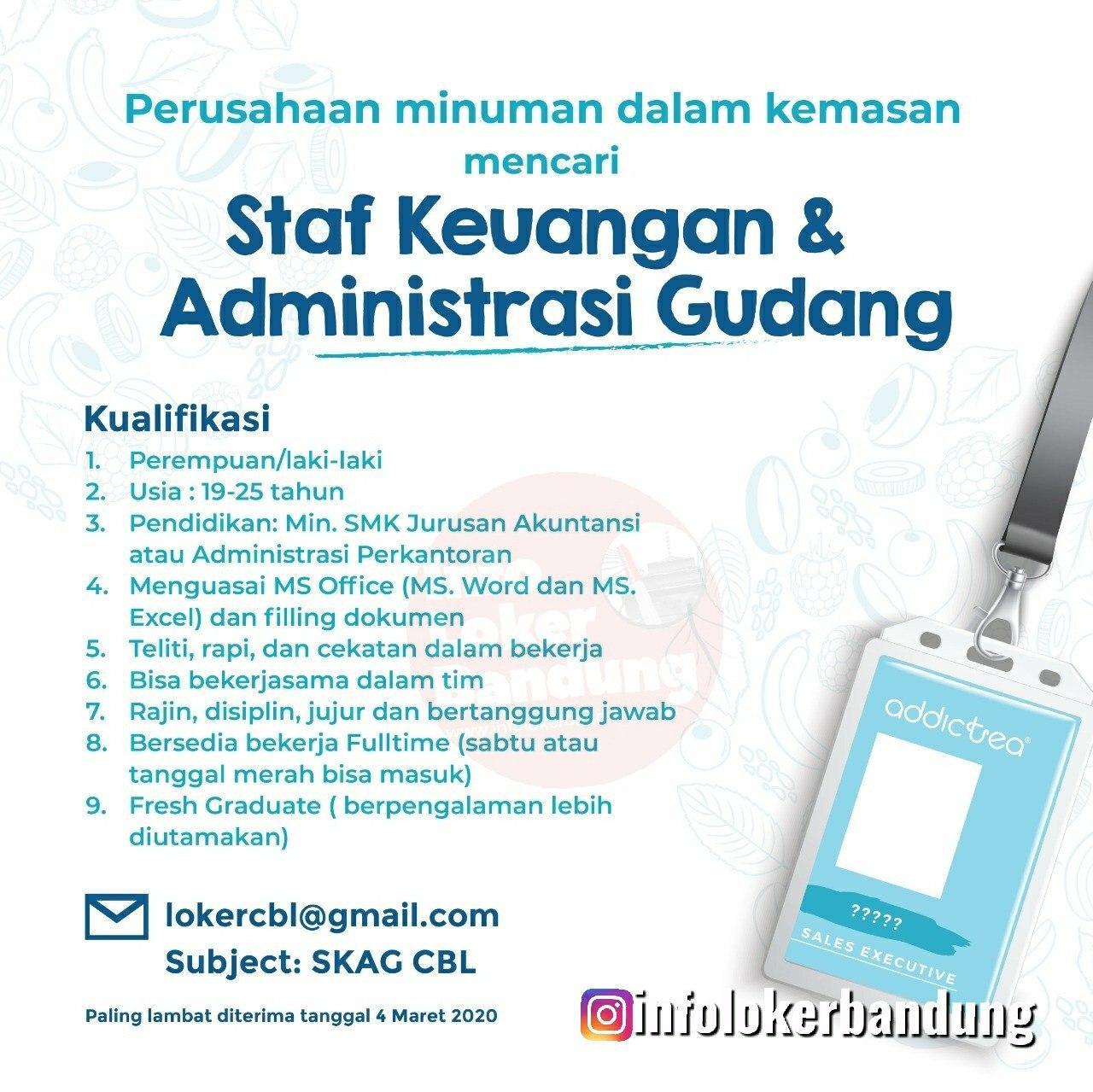 Lowongan Kerja Staf Keuangan & Administrasi Gudang Addictea Bandung Maret 2020