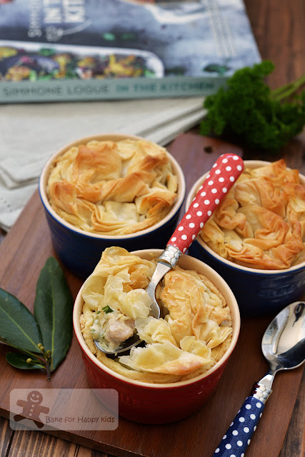 chicken leek pies crunchy buttery filo topping