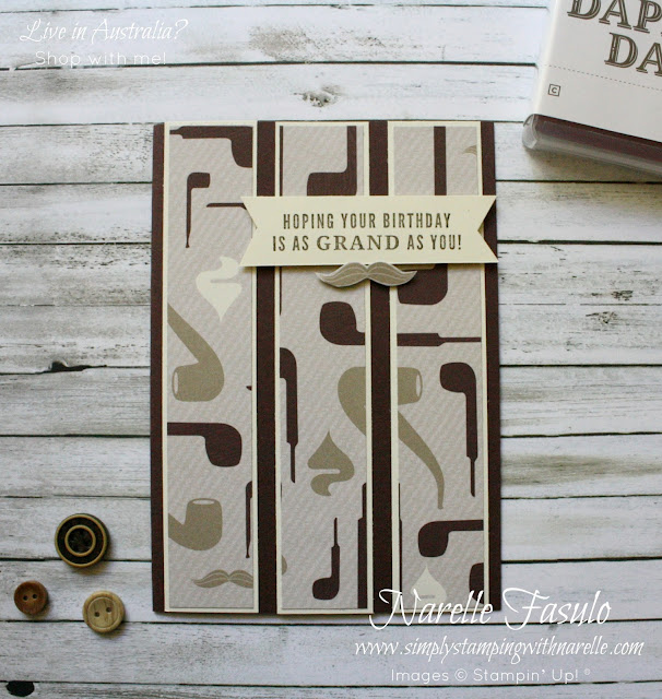 Male cards made easy with the Truly Tailored stamp set and coordinating punch. Add the True Gentleman patterned paper and you will never be lost for inspiration for the males in your life again. Get them here - http://bit.ly/2KjAOjy