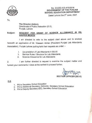 GRANT OF SCIENCE ALLOWANCE, UP-GRADATION AND SERVICE RULES STRUCTURE FOR LAB ATTENDANTS