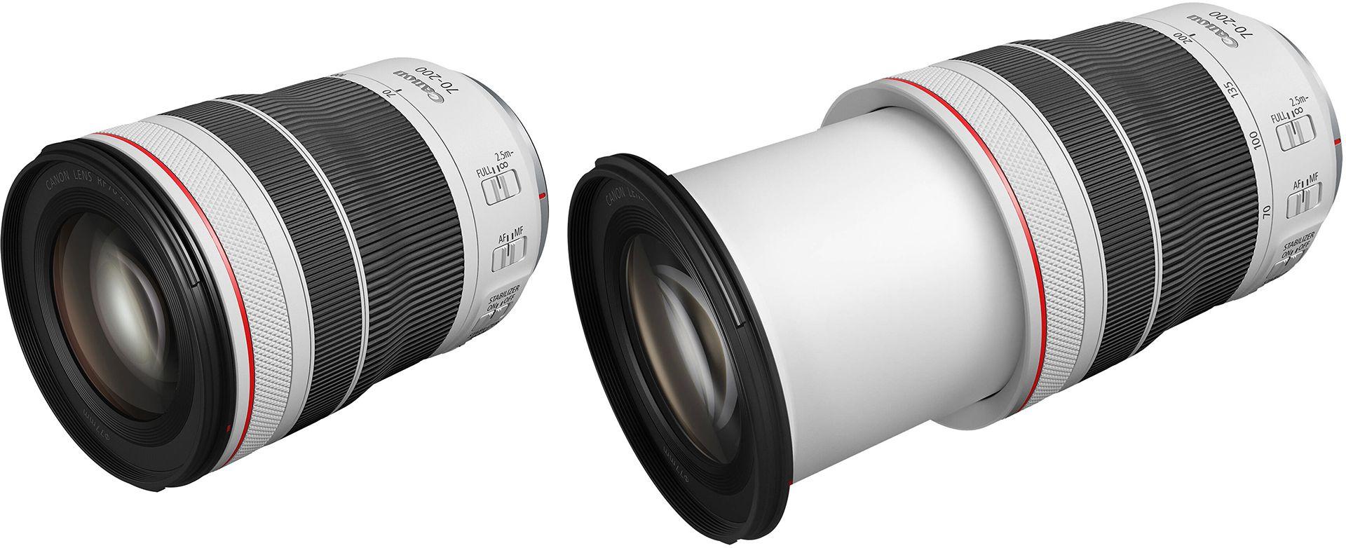 Canon RF 70-200mm f/4L IS USM в минимальных и максимальных габаритах