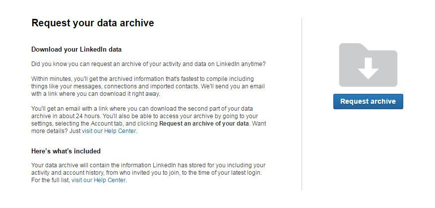 Social Media Linkedin Data Connections Archive Download
