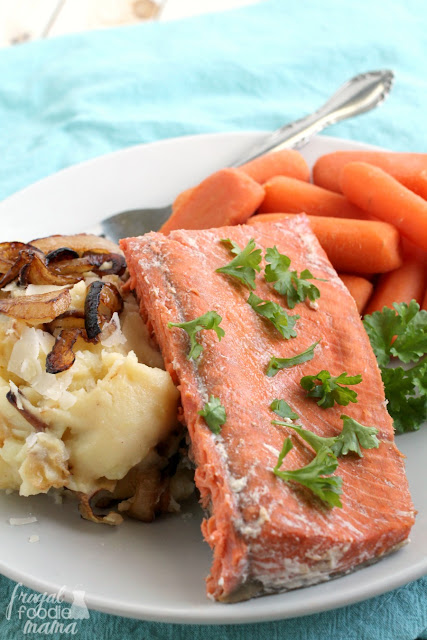 This flavorful & easy to make Sweet Bourbon Salmon with Caramelized Onion & Parmesan Mashed Potatoes makes the perfect dinner for two any night of the week.