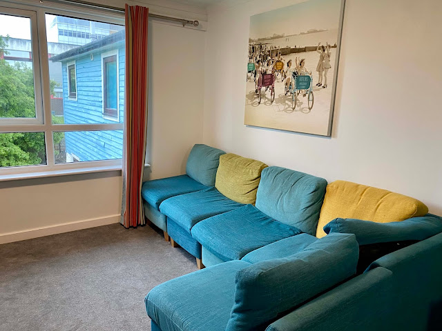 Colourful sofa in the Seaside Apartment at Butlin's