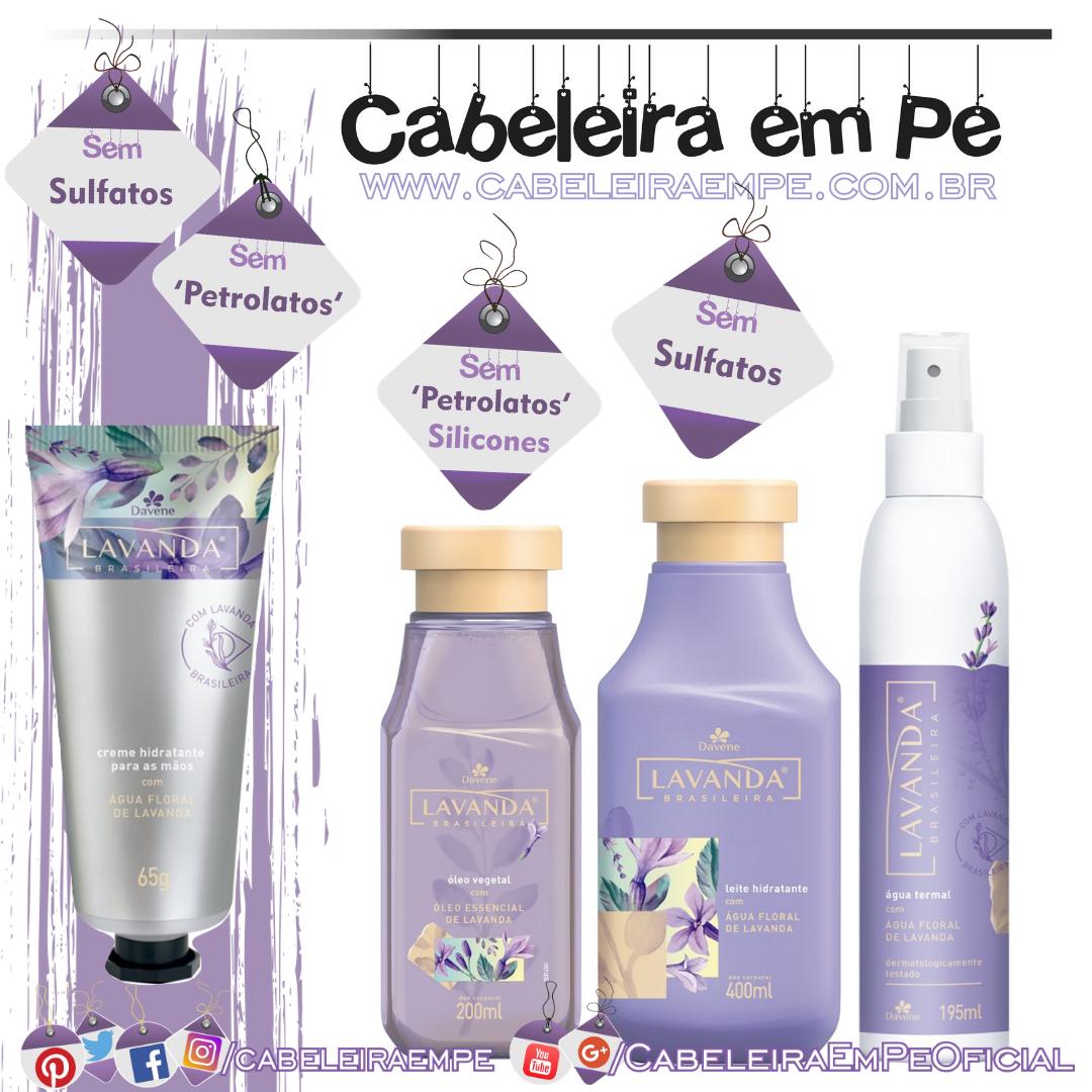 Leite Hidratante, Óleo Corporal, Creme de Mãos e Água Termal Lavanda Brasileira - Davene