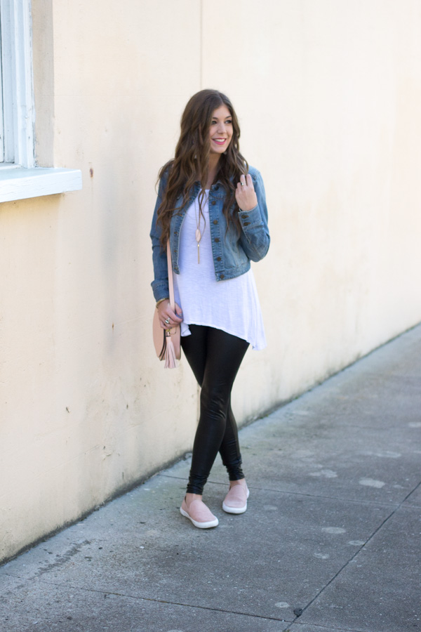 Styling Faux Leather Leggings This Spring - Chasing Cinderella
