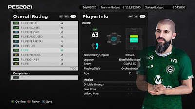 PES 2021 Faces Filipe Trindade