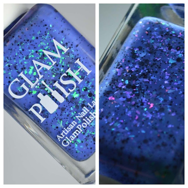 blue nail polish with color shifting flakies in a bottle