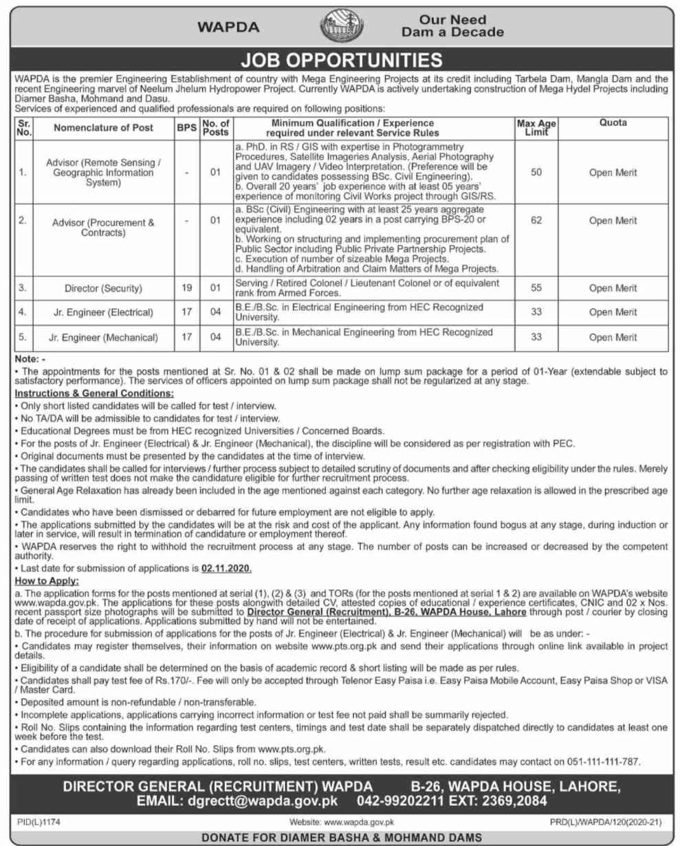 Water & Power Development Authority Jobs 2020 via PTS for Junior Engineer