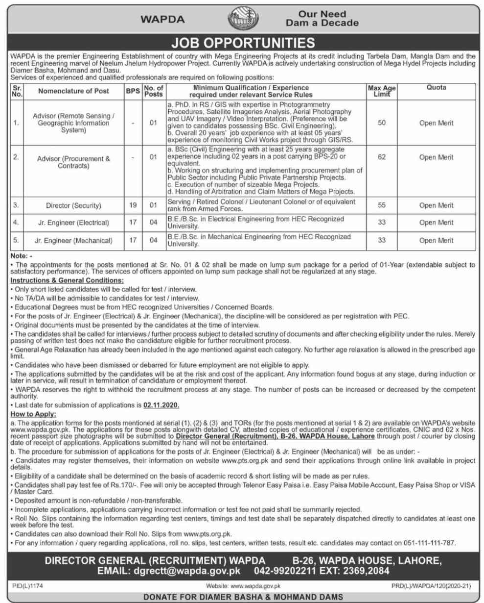 Water & Power Development Authority Jobs 2020 via PTS for Junior Engineer