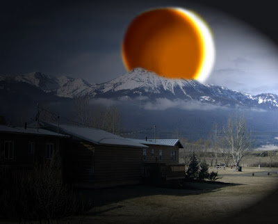 Artist Interpretation of Total Solar Eclipse over the Wallowa Mountains