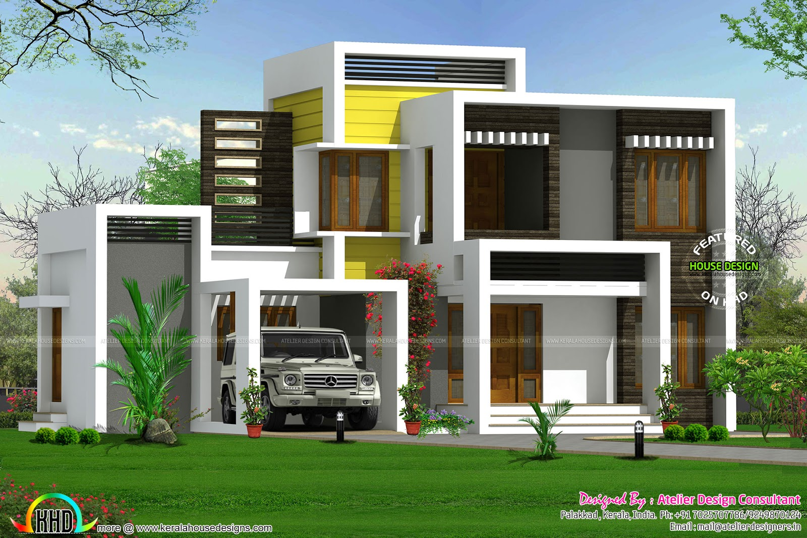 Budget contombaray home in different style kerala home for Different elevations of house