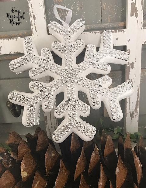 silver snowflake glitter ornament