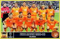 VALENCIA C. F. - Valencia, España - Temporada 1999-00 - Cañizares, Claudio López, Pellegrino, Djukic, Mendieta y Angloma; Kily González, Gerard, Angulo, Farinós y Gerardo - REAL MADRID 3 (Morientes, Raúl y McManaman), VALENCIA 0 - 24/05/2000 - Copa de Europa, Final - París, estadio de Saint Dennis - El MADRID conquista su 8ª Copa de Europa