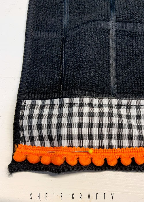 Halloween Hand Towel - how to sew ribbon and pom poms