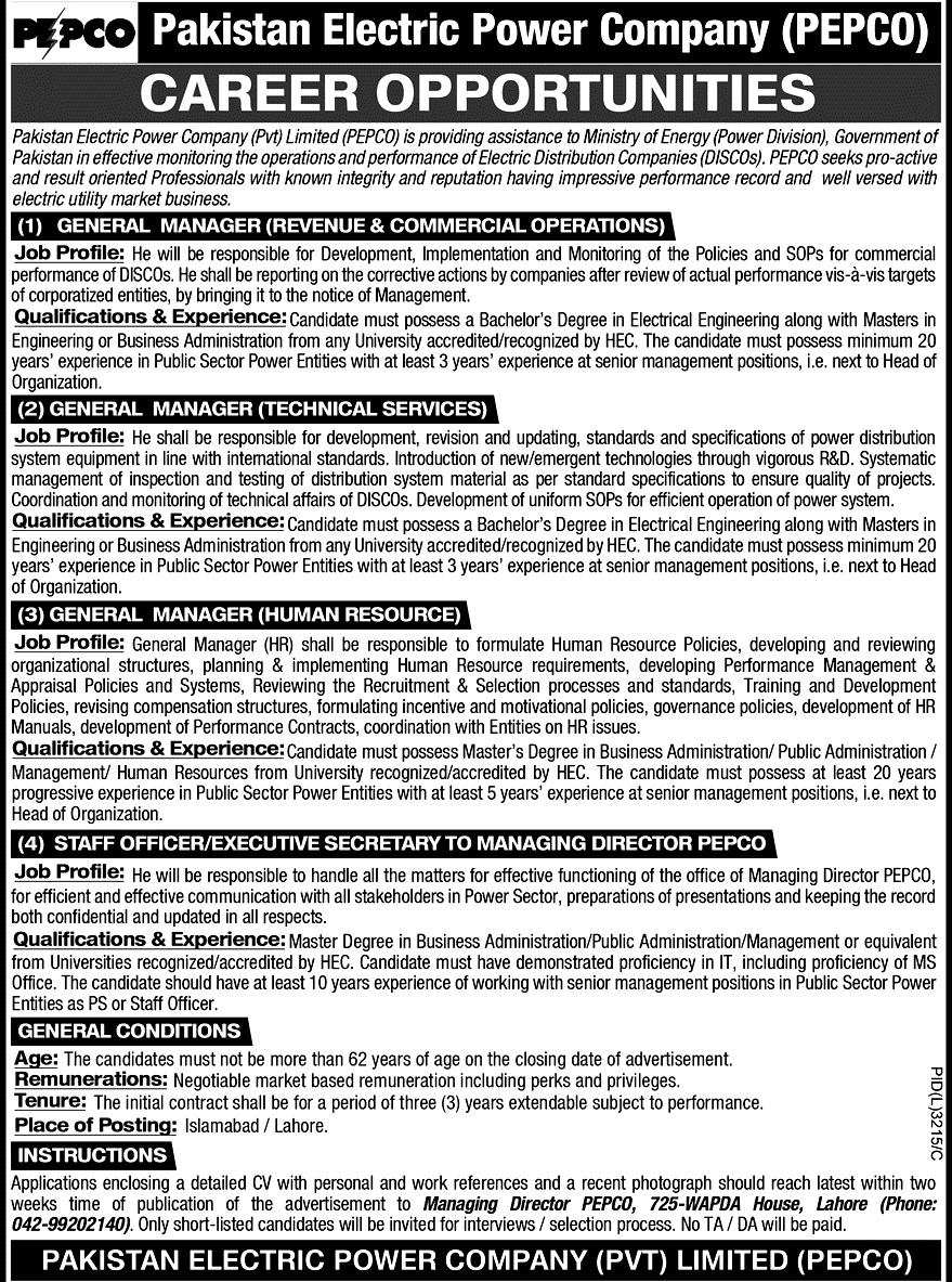 Latest Jobs in Pakistan Electric Power  Company PEPCO May 2021 in Pakistan
