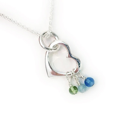 Gemstone and Heart Birthstone Charm Necklace for Mom or Grandma